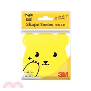 【3M】Post-it利貼 狠黏造型便條紙-熊熊 黃色