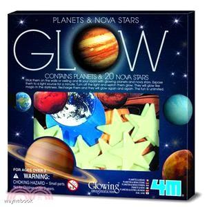 【4M】Glow Planets & Nova Stars In Box 螢光太陽系貼片